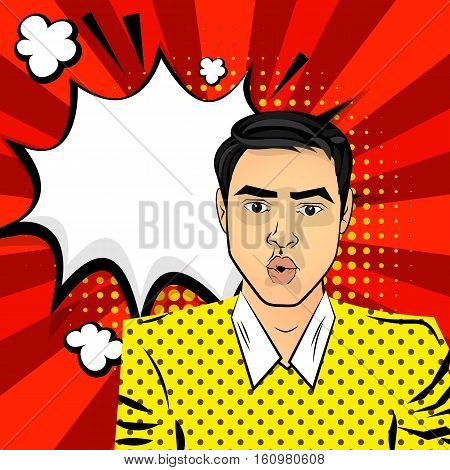 Attractive brunette, surprised young man brown eyes. Comic text sound effects pop art style vector. Sound comic bubble speech phrase cartoon text cartoon balloon. Comic book balloon background