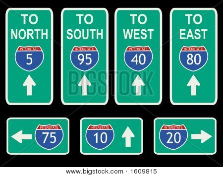 American Interstate signs with directions and arrows illustration poster