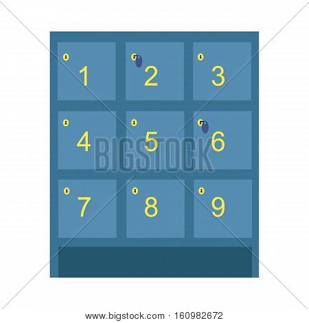 Lockers vector illustration. Flat design. Numbered boxes with lock for keeping and saving personal things in supermarket, sport club, swimming poll, school, station. Isolated on white background.