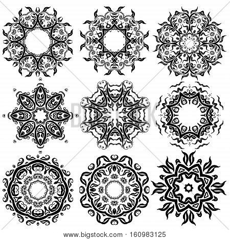 Black and white mandala set nine mandalas