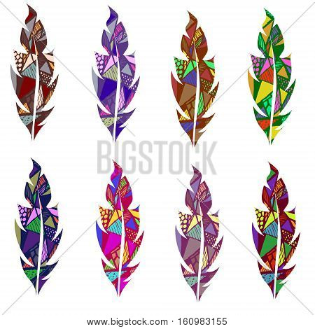 Colored abstract geometric feather set eight feathers