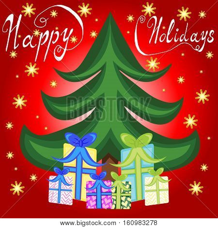 Xmas christmas new year holiday season happy holidays card with christmas tree and presents red background