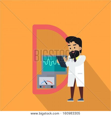 Science alphabet. Letter - D. Scientists working with measuring device. Simple colored letters and scientist character. Scientific research, science lab, science test, technology illustration.