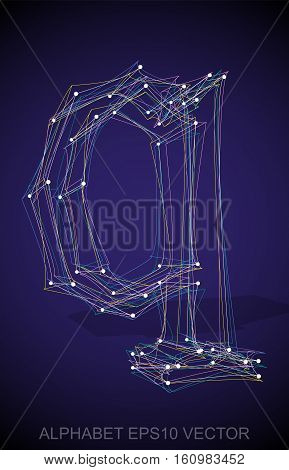 Abstract illustration of a Multicolor sketched Q with Transparent Shadow. Hand drawn 3D Q for your design. EPS 10 vector illustration.