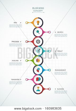 Vector infographic template with 3D paper label, integrated circles. Business concept with options. For content, diagram ,flowchart, steps, parts, timeline, infographics, workflow, layout, chart