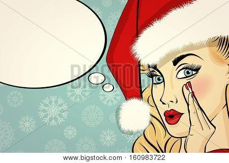 Customizable Beautiful Retro Christmas Card With Sexy Pin Up Santa Girl.