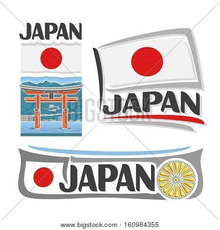 Vector logo Japan, 3 isolated images: banner torii gate in Miyajima on national state nipponese flag, symbol japanese architecture, chrysanthemum emblem-imperial seal of japan on nippon ensign flags.