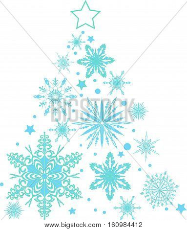 Snowflakes in the form of a Christmas tree. New Year and Christmas. Vector illustration.