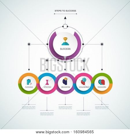 Vector infographic template with 3D paper label, integrated circles. Business concept steps to success with options. For content, diagram, flowchart, steps, parts, timeline, infographics, workflow, layout, chart, process