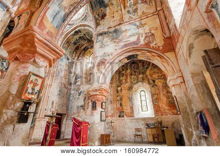 KUTAISI, GEORGIA - SEP 22, 2016: Interior of medieval church of the ancient Orthodox monastery Gelati with fresco on September 22, 2016. Gelati monastery built in 12th century UNESCO World Heritage Site