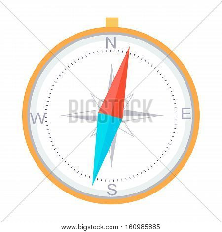 Compass instrument isolated. For navigation and orientation, shows direction relative to geographic points. Diagram compass north, south, east, and west on compass face as abbreviated initials