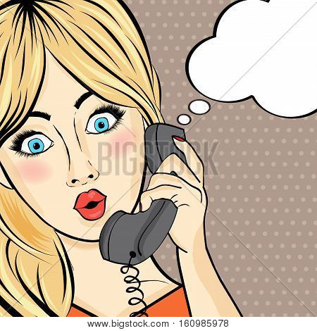 Surprised Pop Art  Woman Chating On Retro Phone . Comic Woman With Speech Bubble. Pin Up Girl.