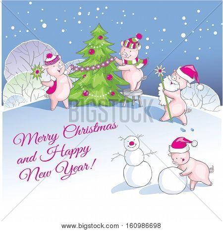 Greeting card Christmas card with cute cartoon piglets.