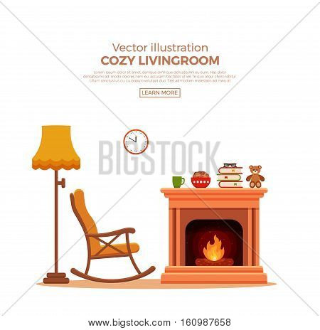 Colorful vector cozy fireplace room interior in cartoon flat style. Fireplace, rocking chair, lamp, books, tea. Comfortable cozy warm fireplace flame bright winter interior illustration.