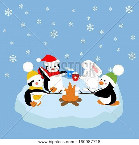 Penguins and white rabbit fried marshmelou on an ice floe. Vector illustration