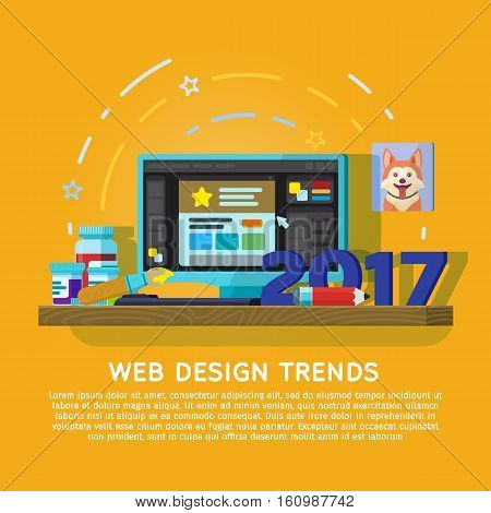 Flat designed banner for ui design and web design. Trends in graphic design in 2017. Workspace designer. Monitor with a graphical editor. Paints, brush, pen tablet and the camera on the table.