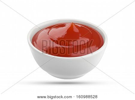 Ketchup in bowl isolated on white background. Portion of red tomato sauce. With clipping path.