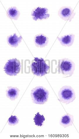 Set of Realistic Ink Blots on White Background. Violet Watercolor Spots.