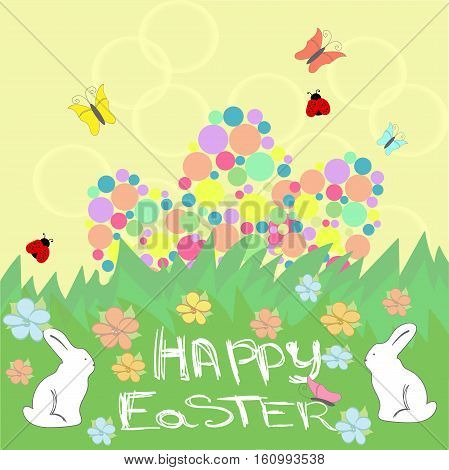 Easter background with Happy easter text. Easter eggs with ornaments in peach and grass colors.