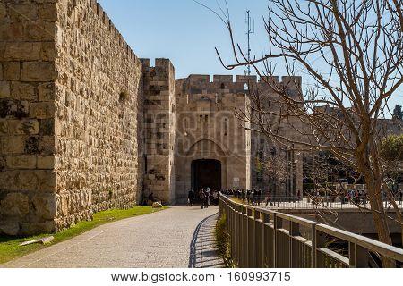 JERUSALEM ISRAEL - DECEMBER 8: Jaffa Gate of the Old City of Jerusalem Israel on December 8 2016