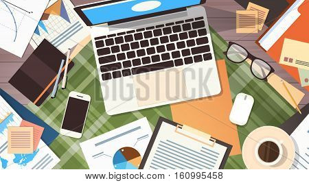 Workplace Desk Documents Papers Folder Office Stuff Top Angle View Flat Vector Illustration