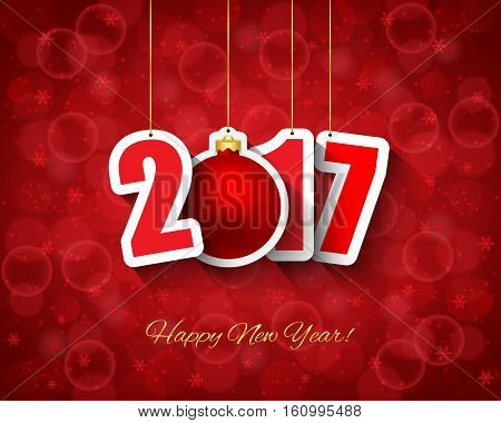 2017 new year background with ball hanging tags