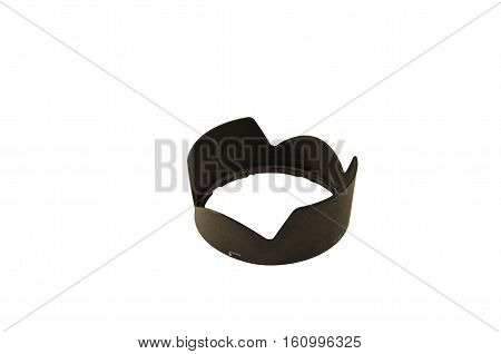 Modern camera lens hood isolated on a white background