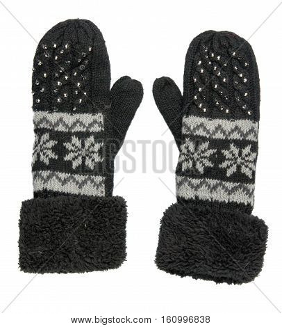 Mitten Isolated On White Background. Knitted Mittens. Mittens Top View.black Gloves With Pattern
