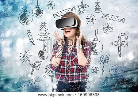 Double exposure, girl getting experience using VR glasses, being in virtual reality, choosing toys, New Year
