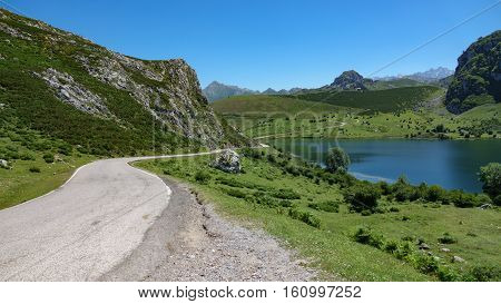 Wide angle view of Enol lake in Asturias, Spain