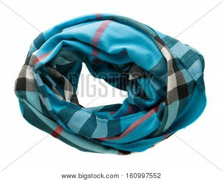 Scarf Isolated On White Background.scarf  Top View . Blue Scarf In A Cage