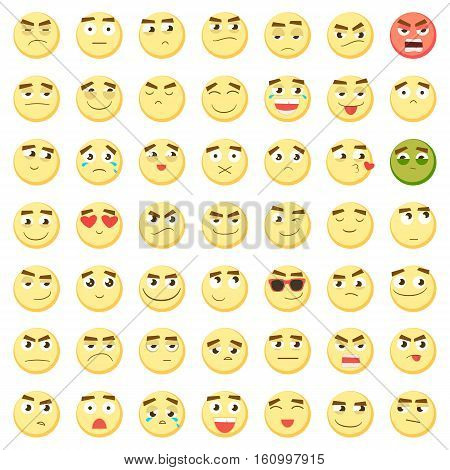 Yellow big emoticon set. Collection of Emoji. 3d emoticons. Smiley face icons isolated on white background. Vector eps10