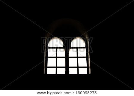 A window from the interior of an old Lebanese church.