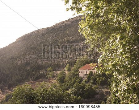 A traditional Lebanese house in the mountain.