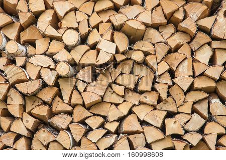 Firewood background - chopped dry firewood, close-up