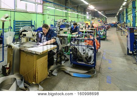 NIZHNY NOVGOROD, RUSSIA - NOVEMBER 28, 2016: Sewing workshop for production of nylon down cargo straps.