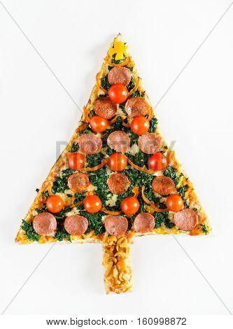 Christmas tree shaped pizza