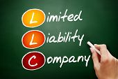 Hand drawn LLC - Limited Liability Company acronym business concept on blackboard poster