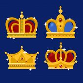 Set of gold king crown or pope tiara. Royal crown for queen or princess, prince or emperor in vintage or retro style. May be used for coronation or old royalty, jewelry theme, heraldic medieval crown poster