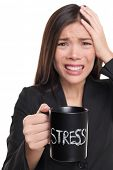 Stressed businesswoman drinking morning stress coffee cup. Stress concept. Business woman stressed in suit holding head addicted to caffeine. Studio isolated on white background. poster