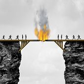 Burning bridge concept as groups of people divided by a wooden bridge on fire as a business connection risk metaphor for destroying a link or isolationism with 3D illustration elements. poster