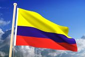 High resolution 3D Colombia flag (with clipping path) poster