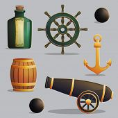 Collection of pirate items for marine journey navigation and treasure hunting. Accessories for treasure hunting trip, vessel parts, gunpowder barrel, cannon. Game and app ui icons. poster