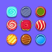 Colorful Hard Candy Flash Game Element Templates Design Set With Colorful Round Sweets For Three In The Row Type Of Video Game. Glossy Bright Color Details For Gaming Constructor Purposes Vector Collection OF Icons. poster