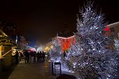 Christmas Market on Gradec square in Zagreb advent evening view poster
