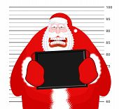 Mugshot Santa Claus at Police Department. Mug shot Christmas. Arrested Bad Santa holding black plate. Grandpa Photo Prisoner in custody for new year. offender portrait poster