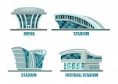 Soccer or football sport stadium or field. Arena building or stadium architecture logo, soccer construction exterior facade or side view. For sport events or football tournament, athletic stadium logo poster