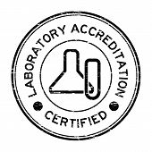 Grunge black laboratory accreditation certified with glassware icon rubber stamp poster
