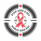 World aids day label isolated vector illustration. Stop aids hiv symbol. Red ribbon logo on white background. 1 december world aids day. Aids day emblem with red ribbon. Aids day logo concept. poster