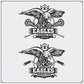 Lacrosse and hockey badges and labels. Sport club emblems with eagle. poster